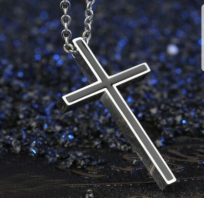 - Titanium Steel Rolo Chain Crucifix  Cross Pendant Necklace for Men