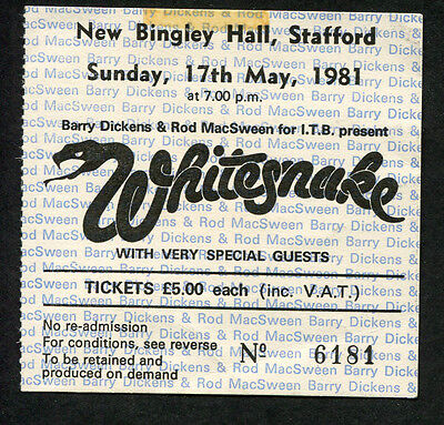 1981 Whitesnake Billy Squier Concert Ticket Stub Stafford UK Come an' Get It