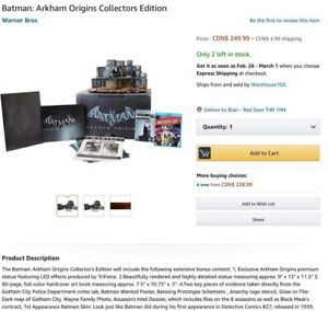 PS3 BATMAN ARKHAM ORIGINS COLLECTORS EDITION GAME & JOKER STATUE