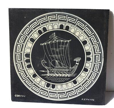 H & R Johnson Ceramic Tile Grey Slate Viking Ship Design Tile 6