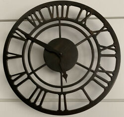 Discontinued Pottery Barn Dark Aged Brass Skeleton Style Wall Clock