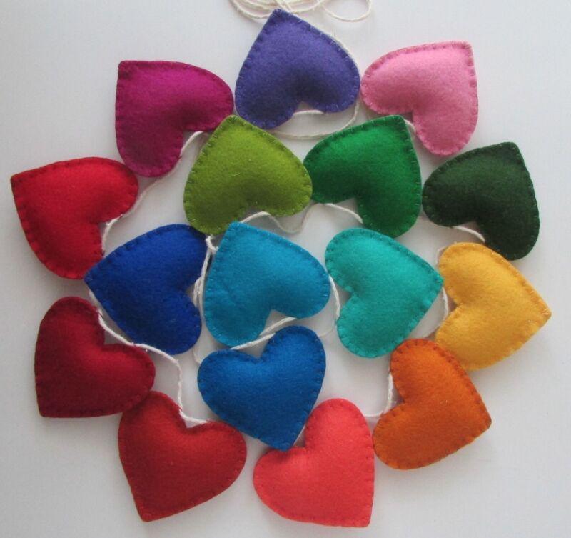 100% Handmade Wool Felt Rainbow Garland/Bunting