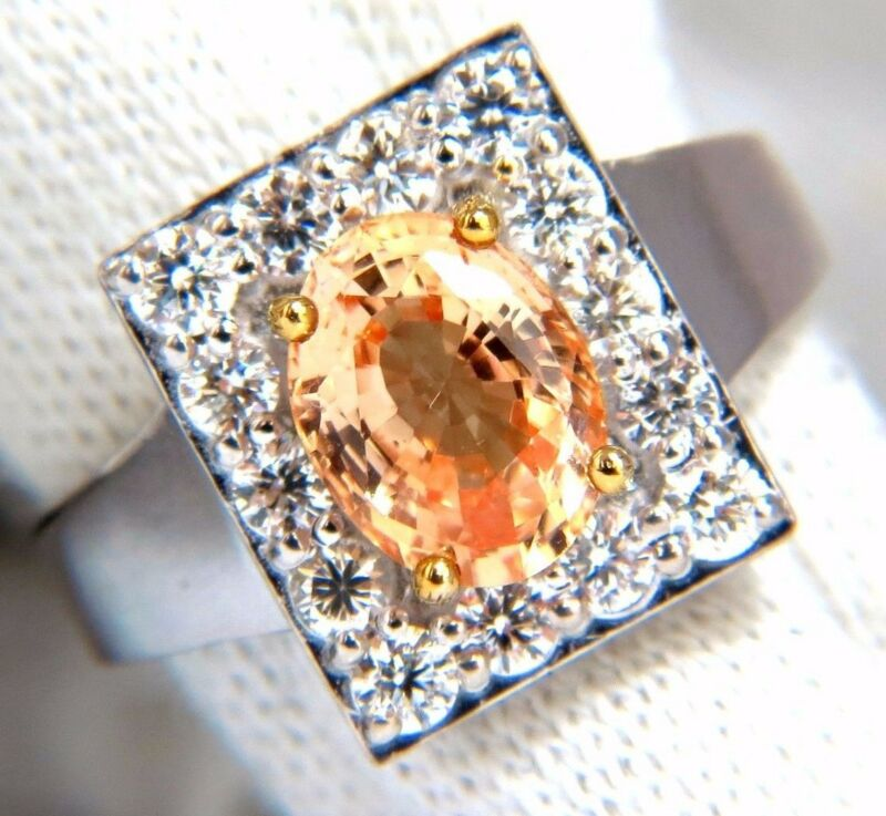 $6000 Gia 2.96ct Natural Yellow Orange Sapphire Diamonds Squarecluster Ring 14kt
