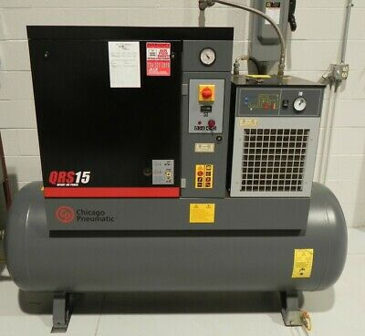 Chicago Pneumatic Qrs 15hptm Rotary Screw Compressor With Air Dryer