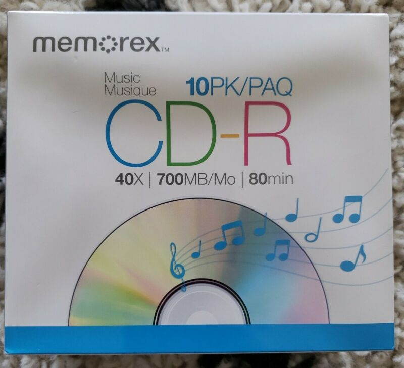 Memorex Music CD-R Recordable Blank CDs 40X 700 MB 80 min 10 Pack Sealed