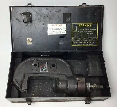 Burndy Y45 Hypress 9500-10500 Psi Remote Hydraulic Crimper Crimp Head W Case