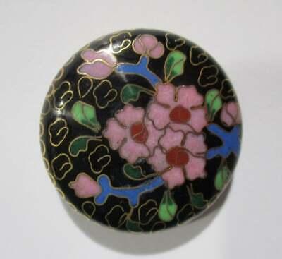 Vintage Cloisonné on Brass Disk Bead, Pink & Black Floral Design, 42.5mm