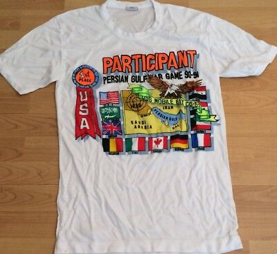 Used White Size Large L Persian Gulf Iraq War Games Participant Shirt 1990 1991 image