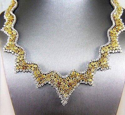 Fine Yellow Diamond Multi-Shape Cluster Fashion Necklace 14K Yellow Gold 47.62Ct