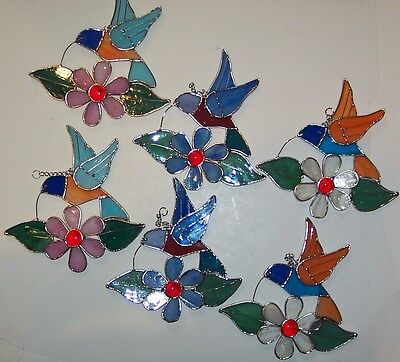 6-PIECE Handmade Stained Glass Hummingbirds  With Flowers [9046-11]
