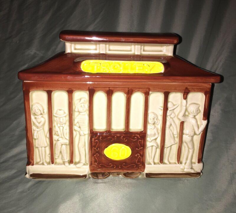 Vintage Haindpainted Otagiri 1980 Japan TROLLEY  Cookie Jar