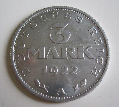 Deutsches Reich Inflation 3 Mark von 1922 A Stgl. Weimarer Verfassung TOP