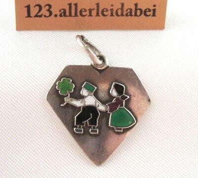 alter Charm Emaille Anhänger 800 Silber um 1930 Kleeblatt art nouveau / BM 1013