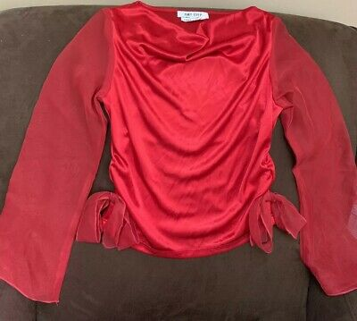 Gypsy Halloween Costume Child (GYPSY COSTUME SHIRT SIZE (12/14) KIDS RED W/SHEER SLEEVES)