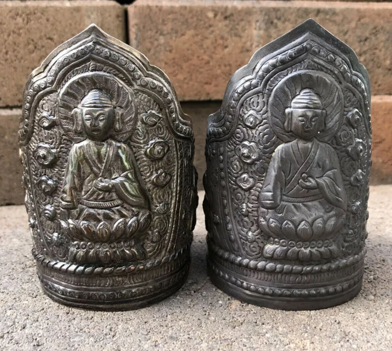 2 PAIR ANTIQUE OLD CHINESE 999 EXPORT SILVER REPOUSSE GUANYIN CUFF BRACELETS