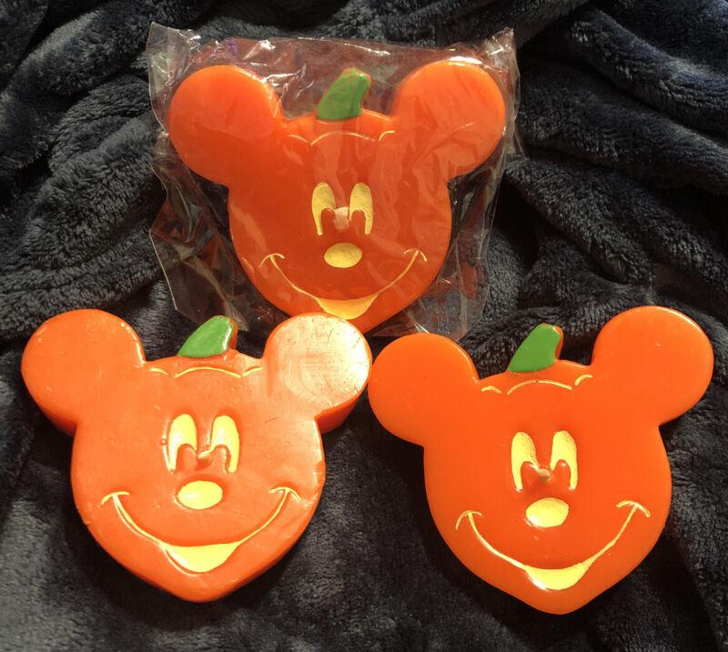 Set (3) Mickey Mouse Halloween Pumpkin Jack-O-Lantern Candles Orange