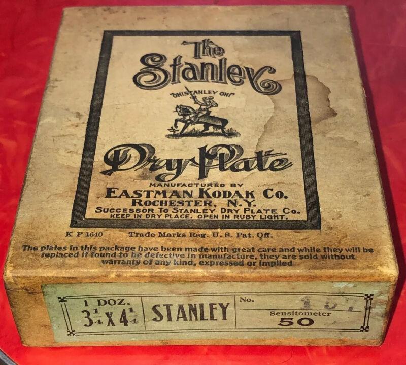NOS Rare Antique Sealed Box The Stanley Dry Plates 3 1/4x 4 1/4 Eastman Kodak Co