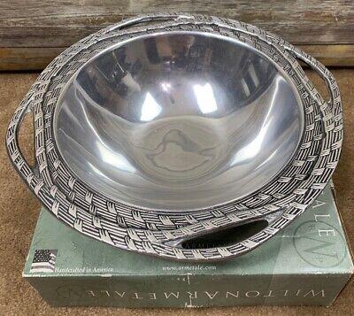 Wilton Armetale Serveware Sweetgrass Design Round Bowl Woven Basket Weave 14