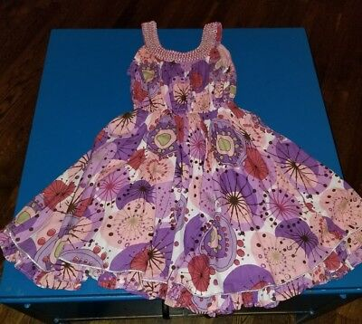 Cupcake Communion Dress (CUPCAKES AND PASTRIES GIRLS pink purple floral lined ruffles silver DRESS size)