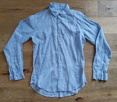 Jac + Jack Mens Linen Shirt Size M Light Blue Read Description