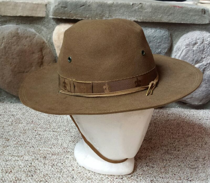 Vintage Boy Scouts Of America Uniform Hat Size 7 Bobcat Pin Brown Wool Felt BSA