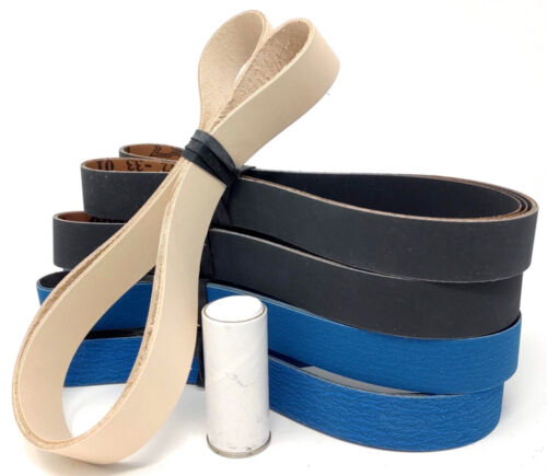 1x42 in. Leather Honing Belt SUPER STROP W/ 12 Pack Sharpening Belt Assortment