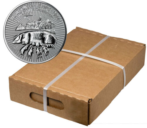 Monster Box Of 100 - 2019 Britain Year Pig 1 Oz Silver Lunar £2 Gem Bu Sku55401