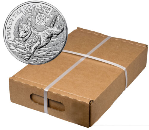 Box Of 100 - 2018 Great Britain Year Of The Dog 1 Oz Silver Lunar £2 Bu Sku49818