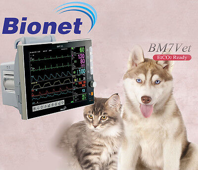 New Bionet Bm7 Vet Multiparameter Veterinary Monitor Wecg Spo2 Temp Nibp