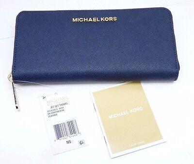 """NEW""  MK Michael Kors Wallet Jet Set Travel ZA Continental Saffiano Leather"