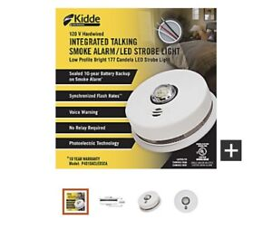 Smoke alarm with strobe light and voice warning