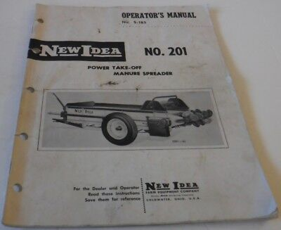 Vintage New Idea Power Take Off Manure Spreader 201 Operators Manual S-185