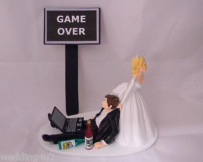 Wedding Reception Beer Game Over Sign Laptop Computer Drunk Geek Cake Topper - Wedding Reception Games
