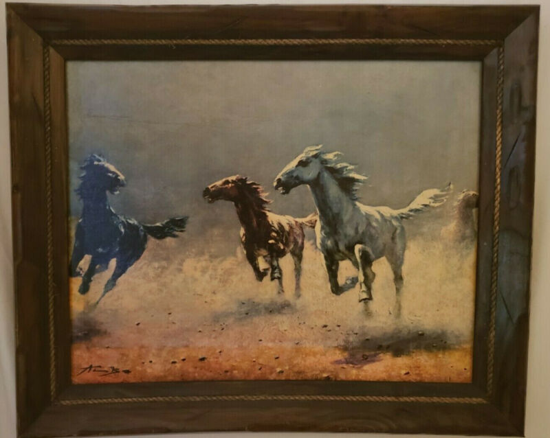 Free as the Wind by August Albo Oil Painting On Canvas Giclee Signed 19.5 X 11.5