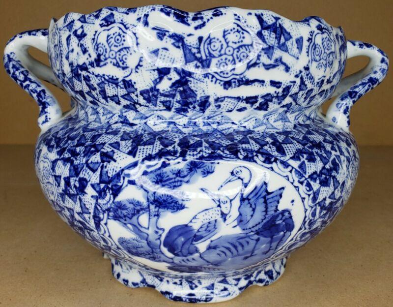Chinese Transfer Blue/White Ceramic Scalloped Top Cacepot Jardiniere Planter