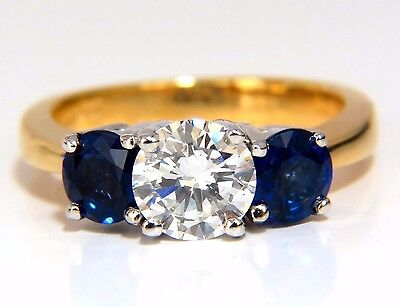 GIA 2.57CT NATURAL ROUND BRILLIANT DIAMOND RING CLASSIC THREE SAPPHIRE+