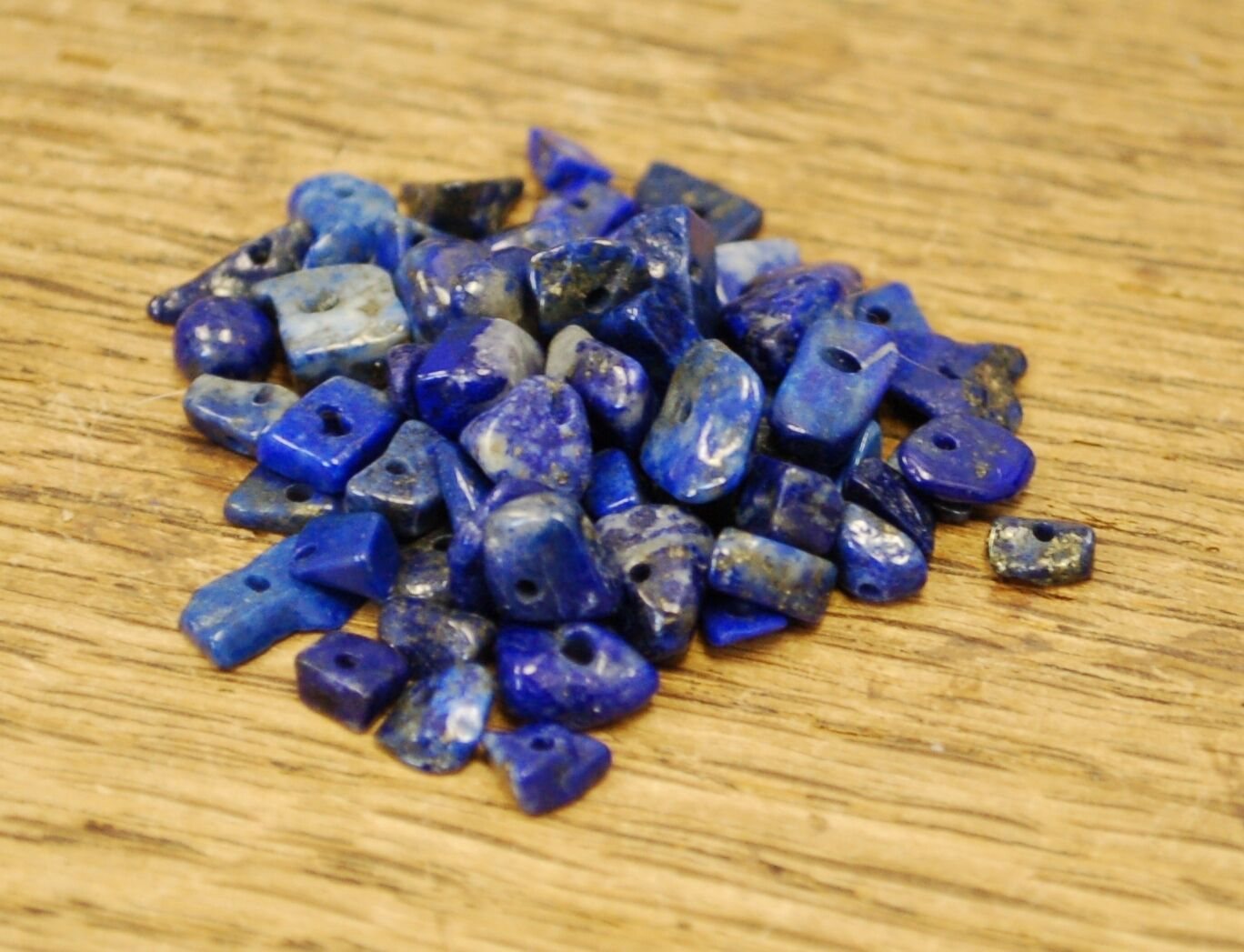 """LAPIS LAZULI SMALL TUMBLE CHIP BEADS - 50 BEADS or 36"""" STRING"""