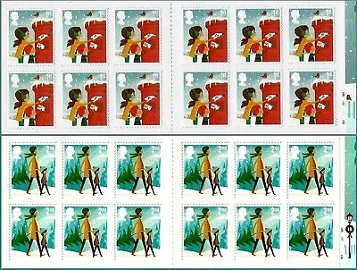 2014 Royal Mail Christmas LX47 & LX48 2nd & 1st Class Cylinder Booklets MNH * ()