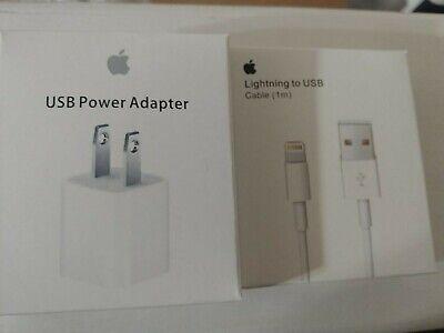 OEM Original Apple iPhone 7 6S Plus 5 SE Lightning USB Cable+Charger 1M/3FT