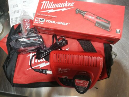 "Milwaukee M12  3/8"" ratchet kit 4.0AH & 1.5ah batteries  245"