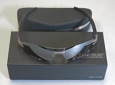TAG Heuer Sunglasses L-TYPE Alligator Leather Black Brown 0452 201 NEW! 24409