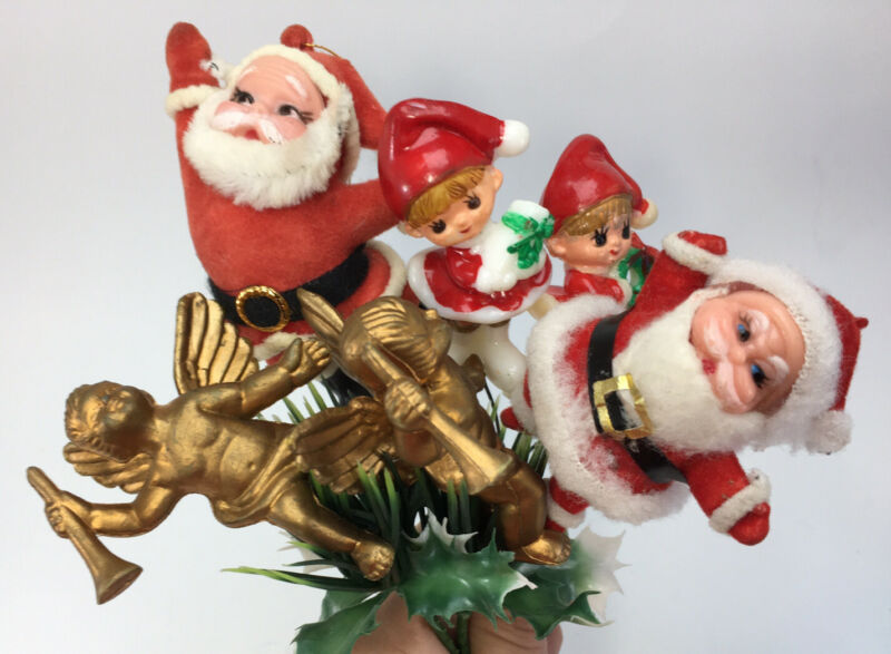 Vintage Santa Christmas Picks Holiday Decorations Angels Mixed Lot Craft Wreath