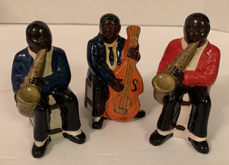 3 (three) Vintage Black Americana Collectable Black Musician Ceramic Figures.