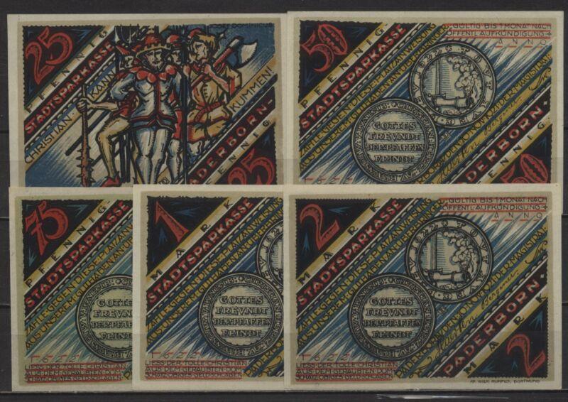 [21982] - 5 x Notgeld PADERBORN, Stadt, 25 Pf - 2 Mark - Der tolle Christian -,