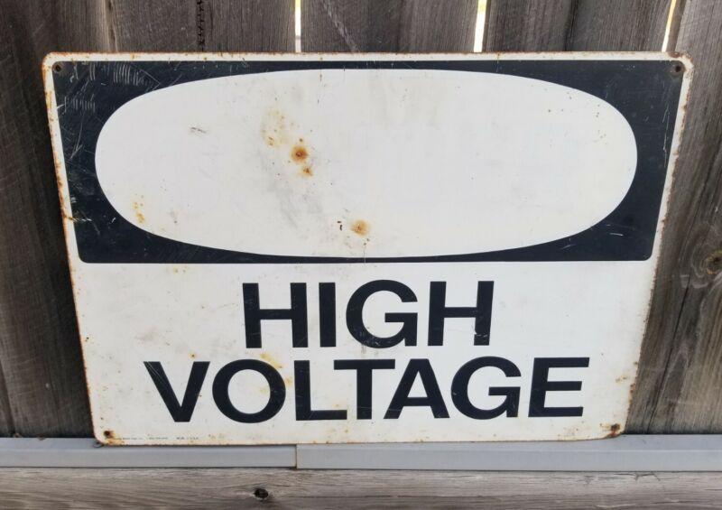 """Vintage Metal Sign DANGER HIGH VOLTAGE 20"""" x 14"""" Heavy"""
