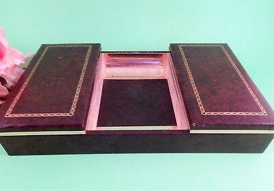 Desk Or Dresser Organizer Mens Brown Gold Leatherette Vtg 1980s Storage Box