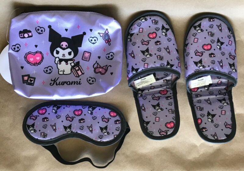 Sanrio - Kuromi Travel Set: Pouch/bag, Slippers (length=9.5 inch), Eyemask - NEW