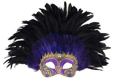 Mask Venice colombine golden to feathers black purple Female paper mache 523