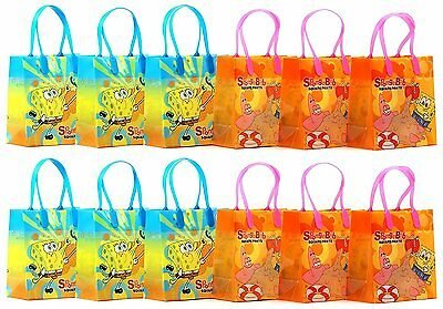 12PCS SpongeBob Squarepants Goodie Party Favor Gift Birthday Loot Bags Licensed
