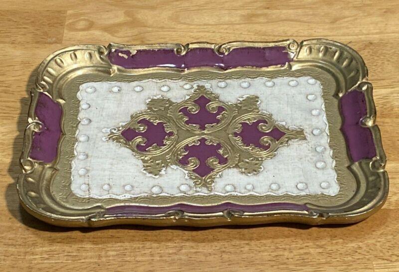 Vintage Italian Florentine Vanity Tray - Rectangular Purple/Violet & Gold